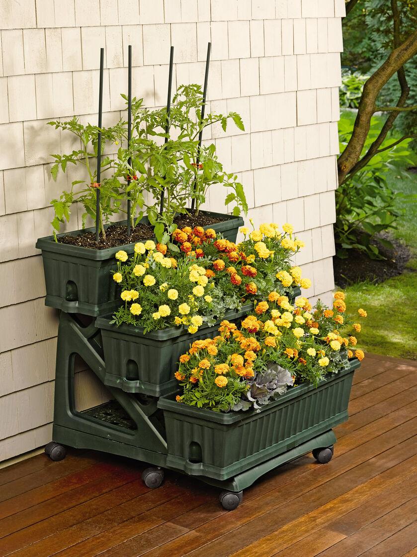 3 tier mobile planter for porch patio or deck for Porch patio