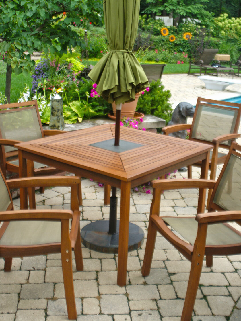 Eucalyptus Table with Granite Inlay Dining Set - Square Patio Table + 4 Chairs - Granite Inlay Wood Outdoor Dining Set
