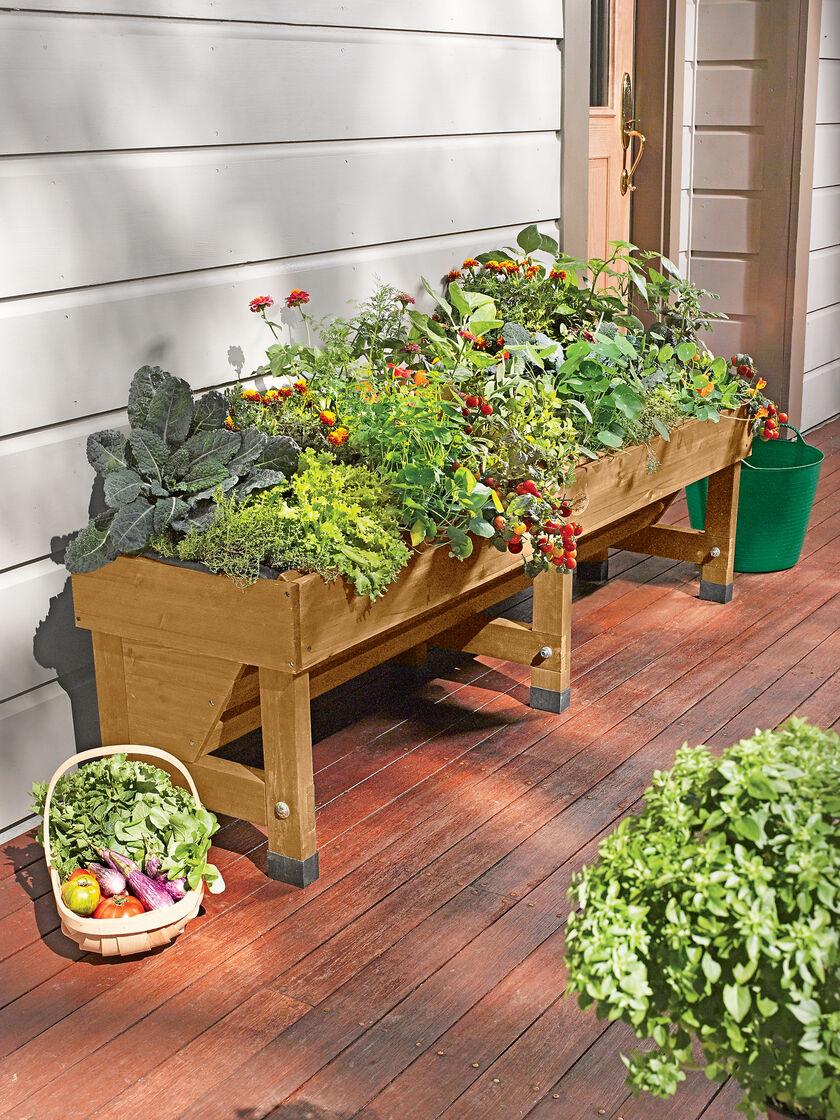 Trough vegtrug 18 39 x72 39 raised planter bed gardener 39 s for Gardeners supply planters