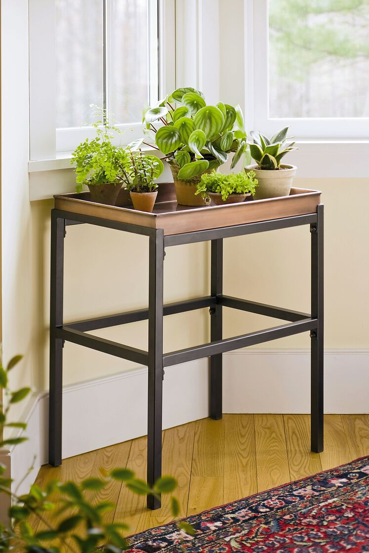 Plant Stand With Copper Tray Buy From Gardener S Supply