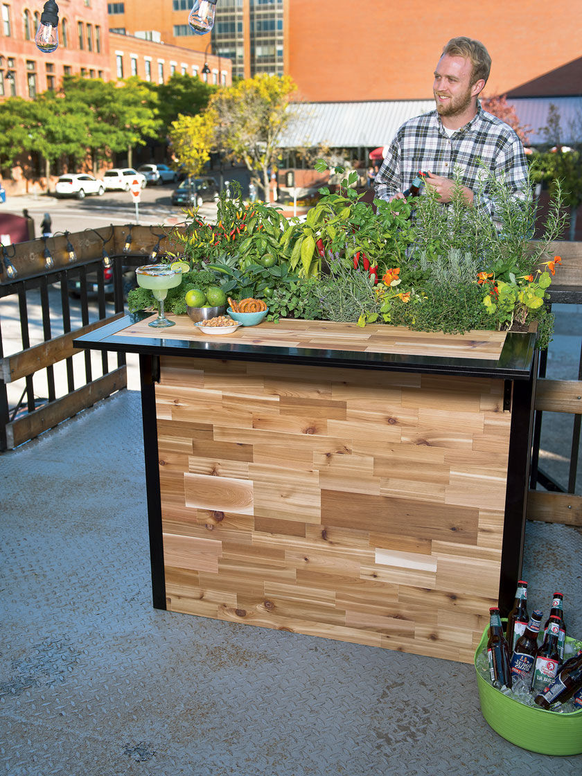 Reclaimed Wood Small Outdoor Bar Planter Patio Plant A