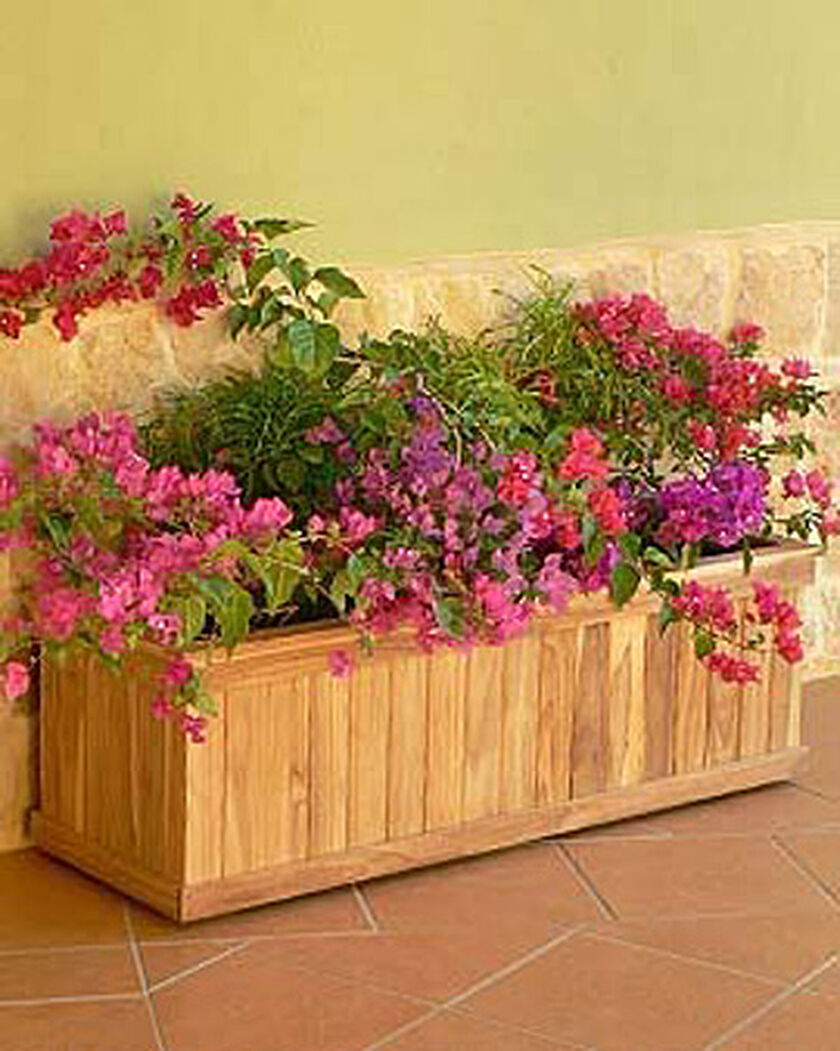 Wood planter box estate teak trough planter gardeners for Gardeners supply planters