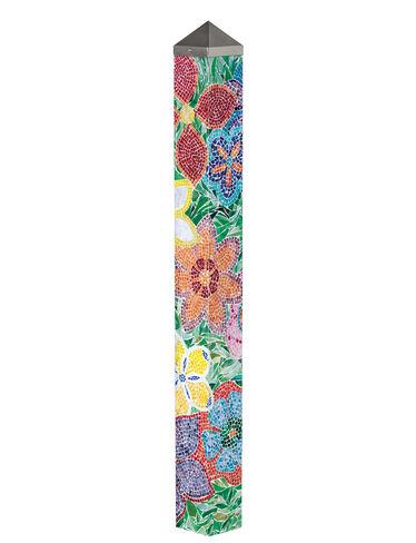 Flower mosaic art pole mosaic garden art gardenerscom for Garden art pole
