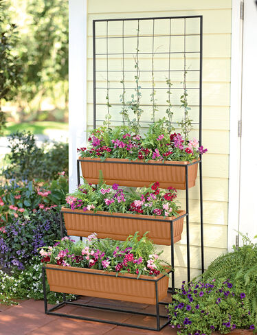 3-Tier Cascade Planter with Trellis