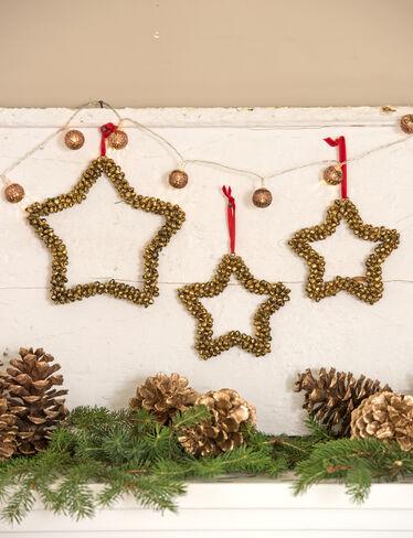 Jingle Bell Star Ornaments, Set of 3