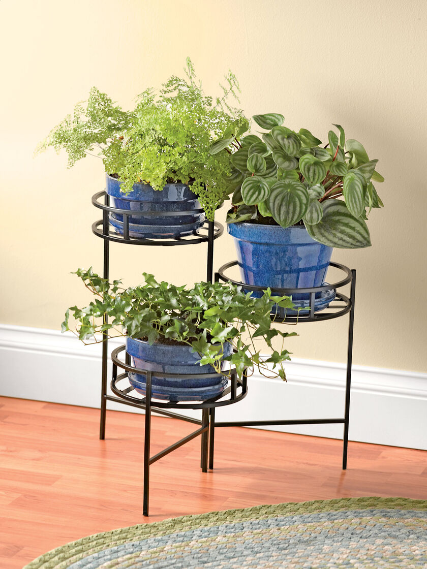 Metal Plant Stand Nesting Triple Pot Plant Stand