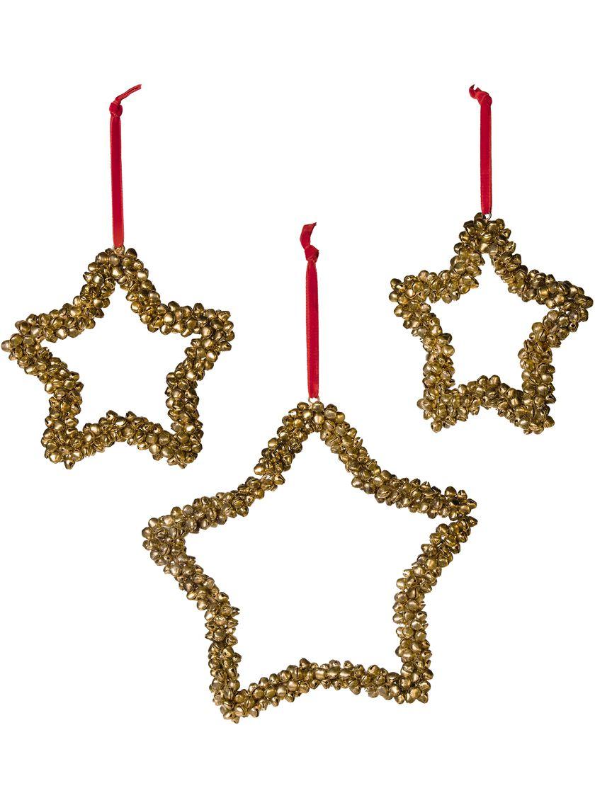 Jingle bell ornaments - Jingle Bell Star Ornaments Set Of 3