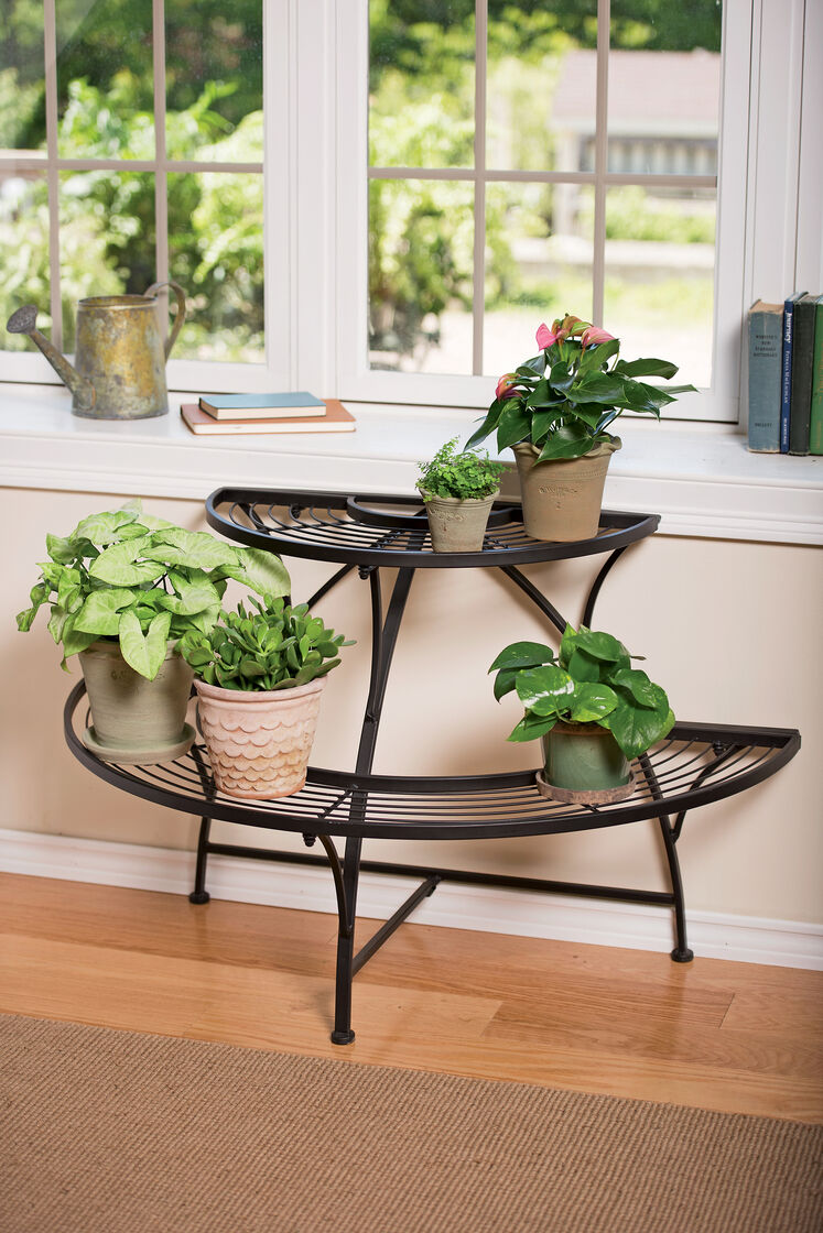 Semi circular metal plant stand black tubular steel Plant stands for indoors