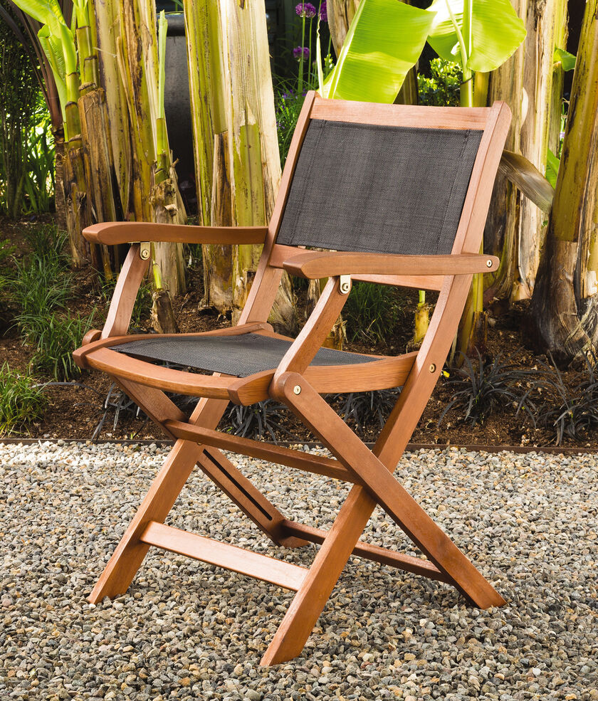 Wooden Lawn Chairs ~ Folding patio chairs wood armchairs mesh seat back