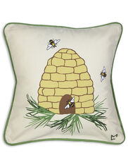 """Bee Skep Throw Pillow, 18"""""""