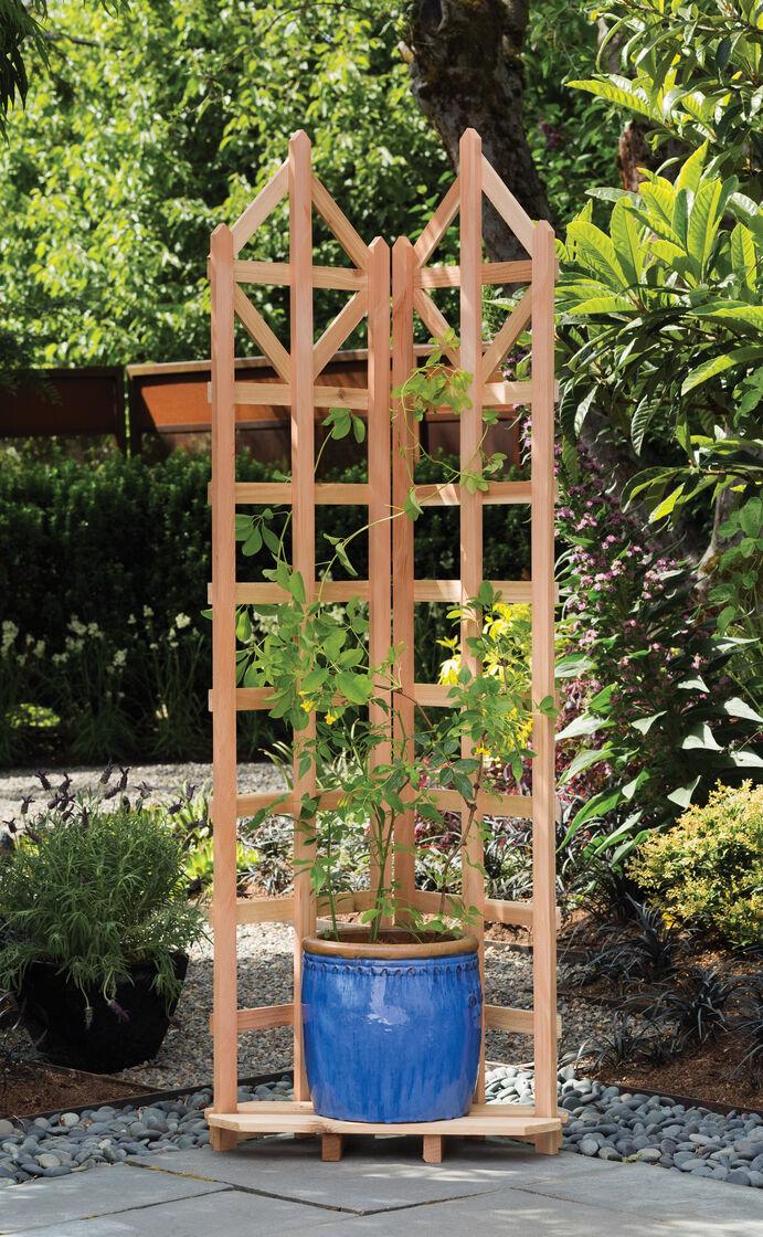 Wood Trellis Deco Freestanding Corner Trellis Gardeners Com