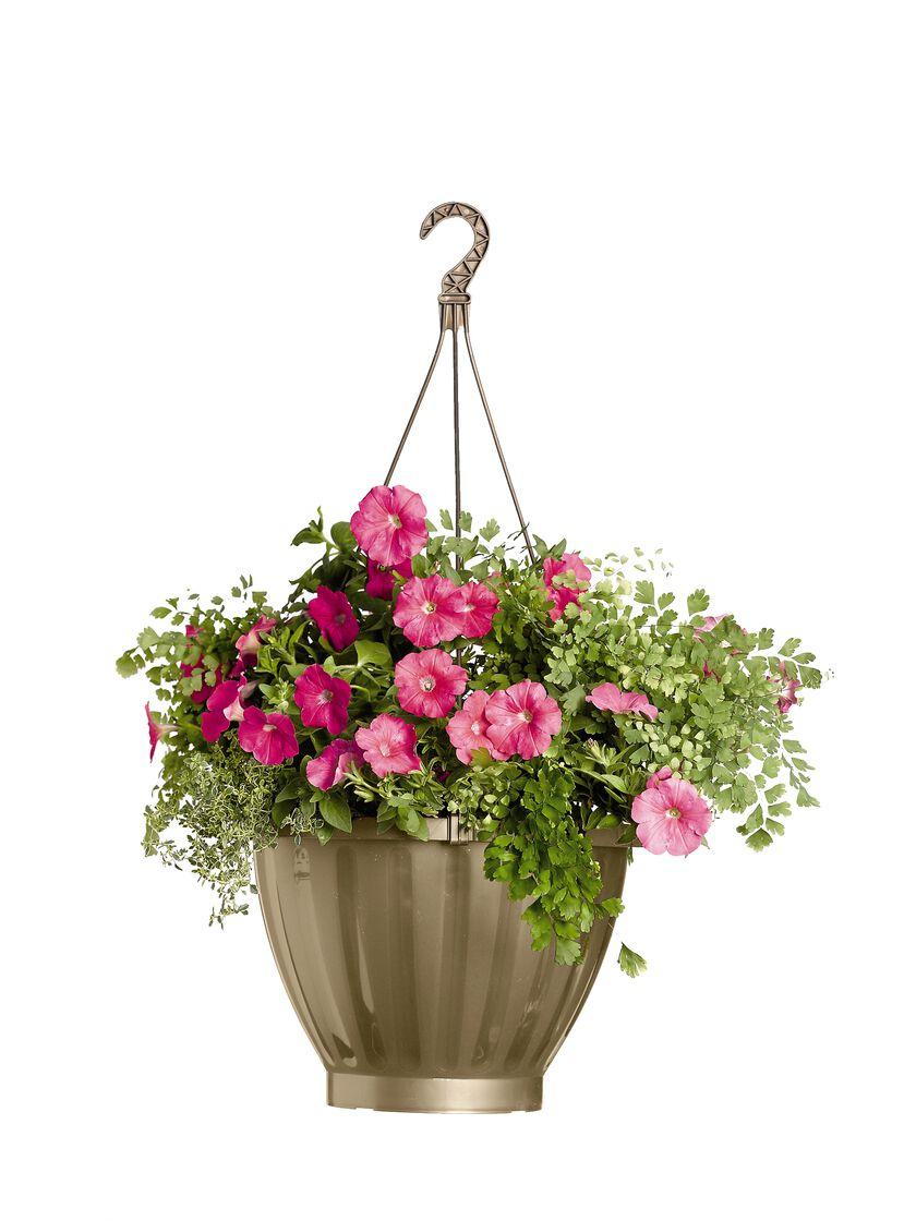 Jumbo self watering hanging planter in 6 colors gardener for Flower pots with plants