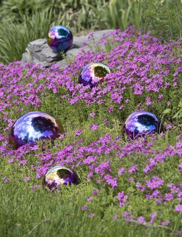 Gazing Balls Blue Amp Purple Set Of 5 Stainless Steel
