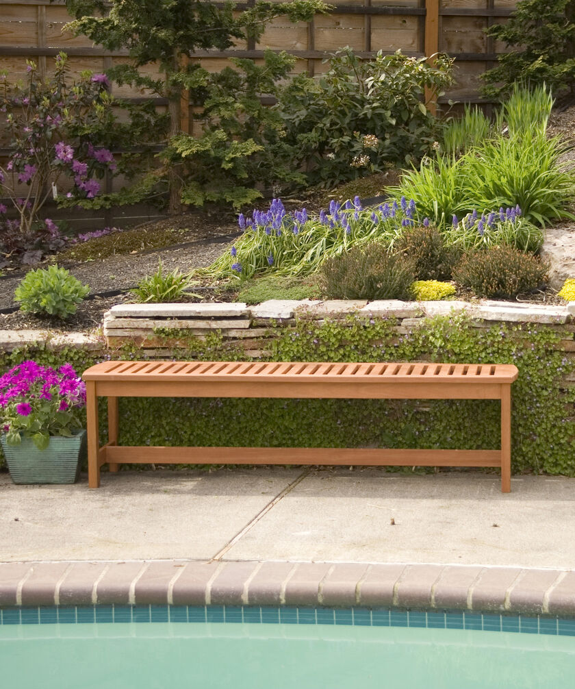 Backless Garden Bench: Outdoor Bench: 5' Long Wood Bench, Backless