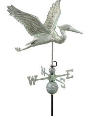 Verde Copper Heron Weathervane, Standard Size