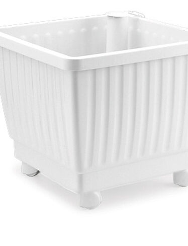 "15"" Self-Watering Rolling Planter, White"