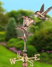 Copper Hummingbird Weathervane, Garden Size