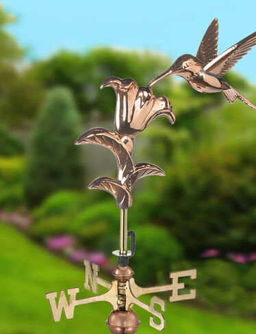 Copper Hummingbird Weathervane, Garden Size
