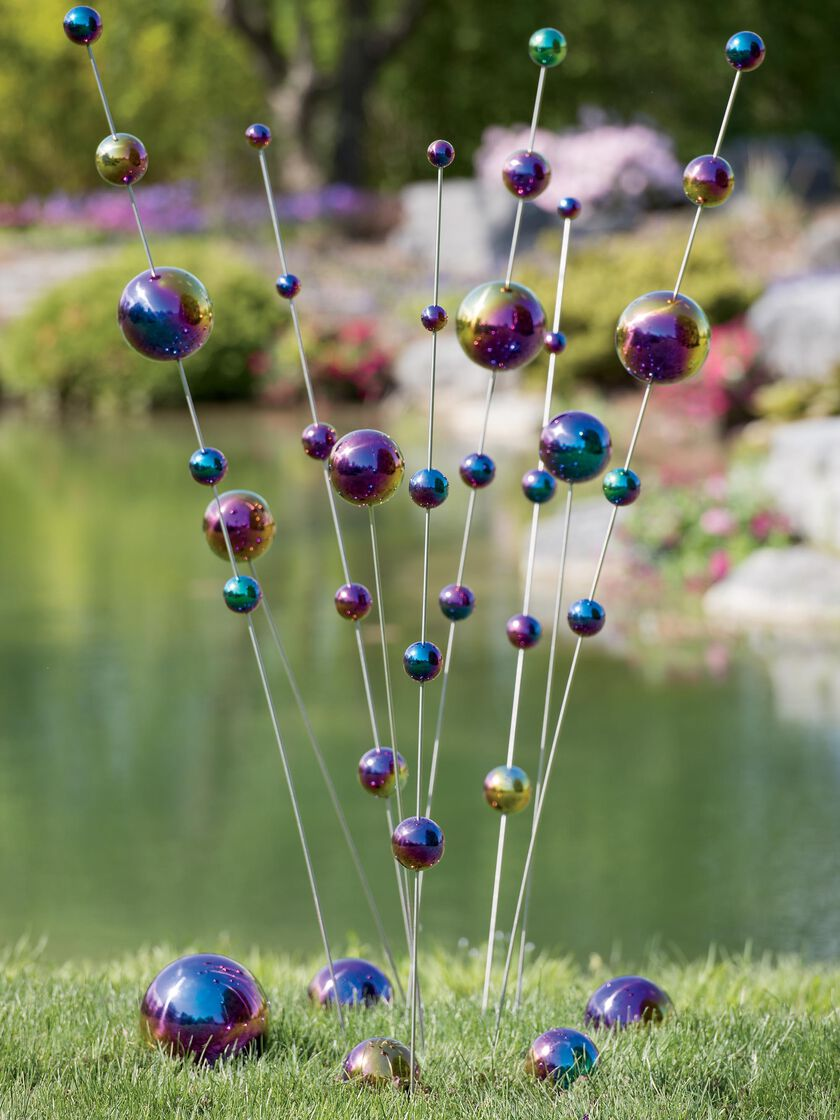 Gazing Ball Stake in Iridescent Colors Garden Art