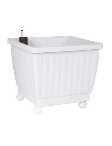 "17"" Self-Watering Rolling Planter, White"
