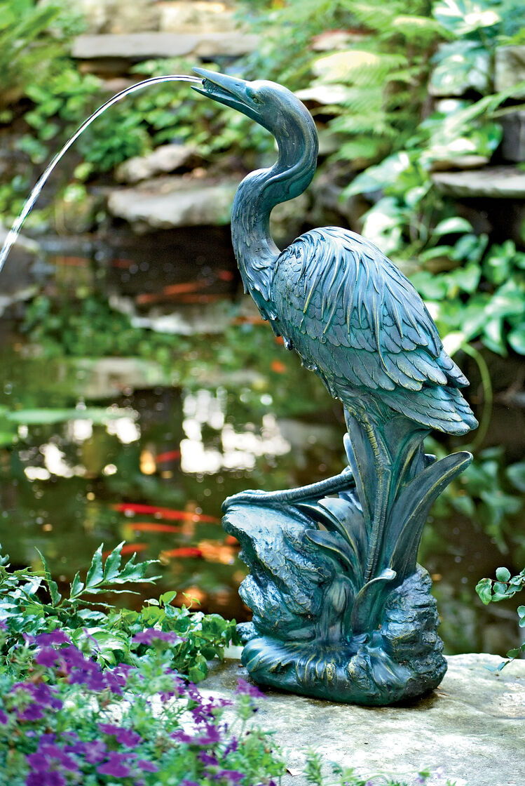 Heron garden ornament - Heron Spitter Fountain