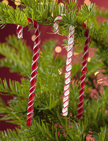 Glass Candy Canes, Set of 6