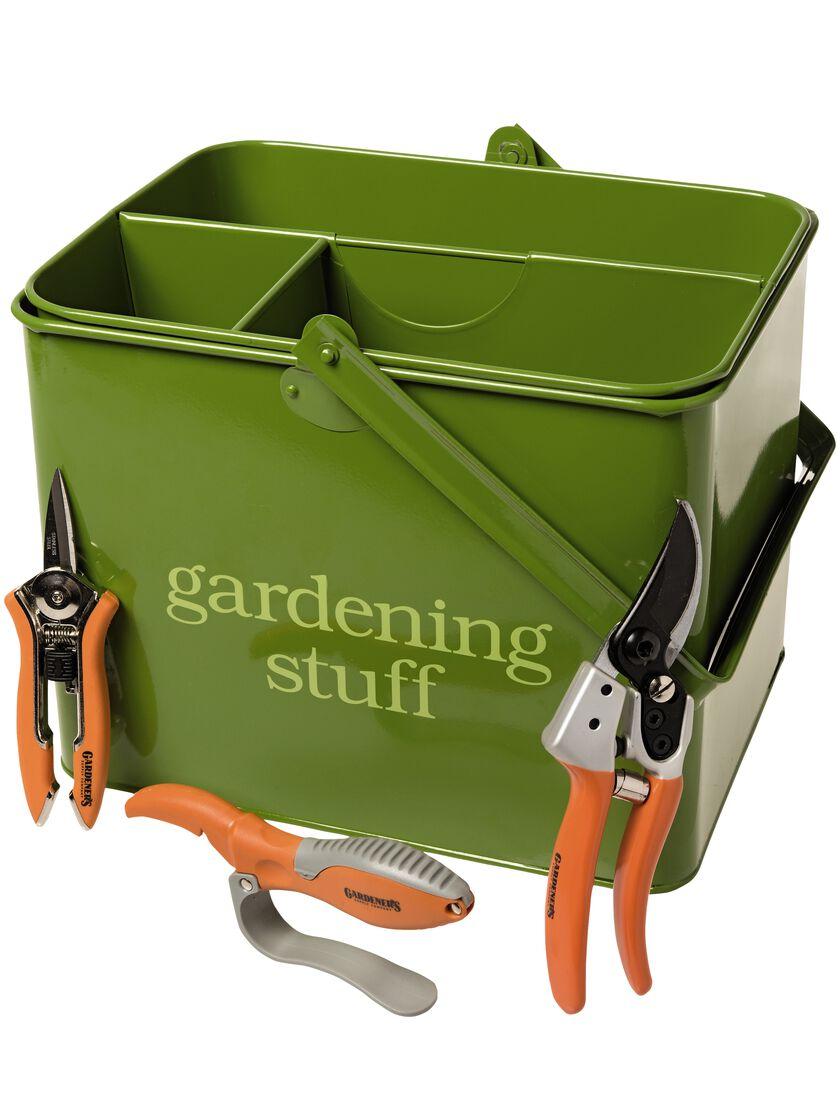 Gardening gift set garden tool caddy with hand tools for Gardening tools gift set