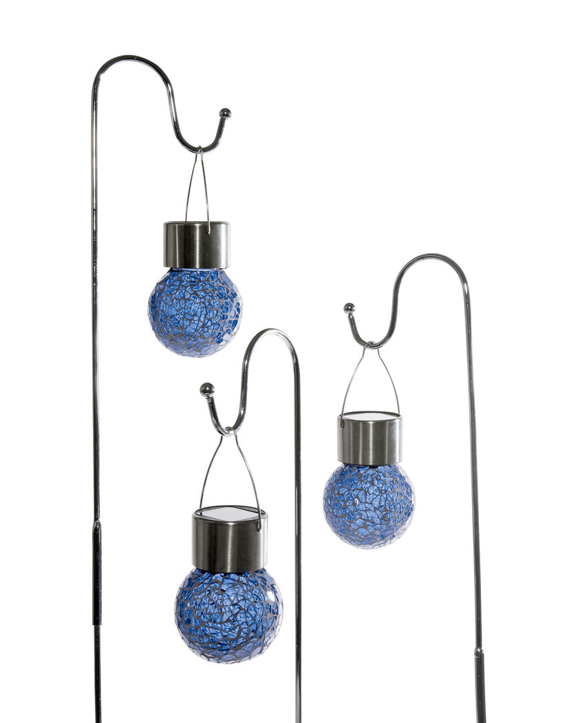 Mosaic Solar Light Drops Set Of 3 Hanging Mini Solar