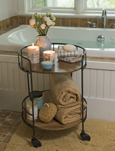 Rustic side table astoria rolling accent table for Small bathroom accent tables