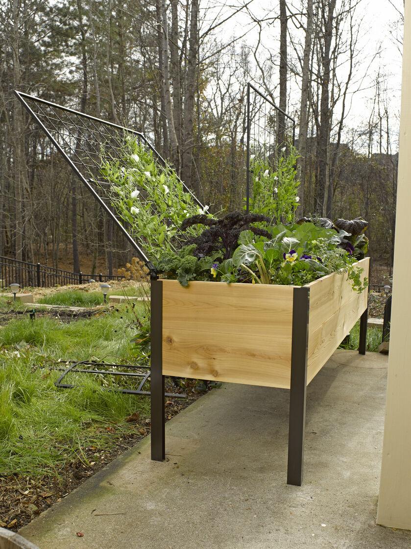 Elevated Cedar Planter Box Space Maker Pivoting Trellis 2x8