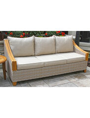 Vineyard Outdoor Wicker and Teak Sofa