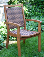 Wicker and Eucalyptus Stackable Armchair