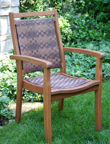 Outdoor Armchairs Wicker And Eucalyptus Stackable Armchairs
