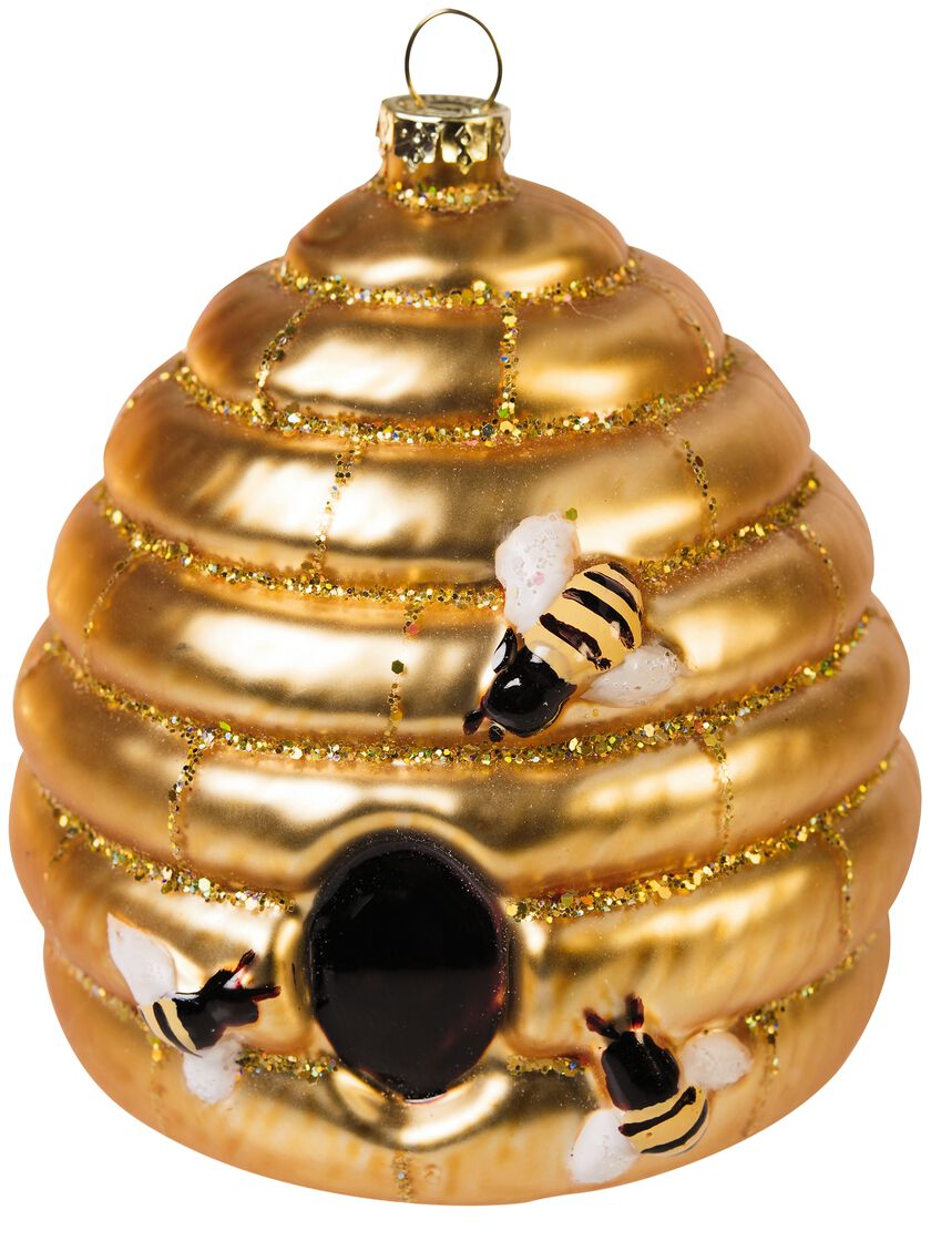Beehive ornament - Glass Bee Skep Ornament