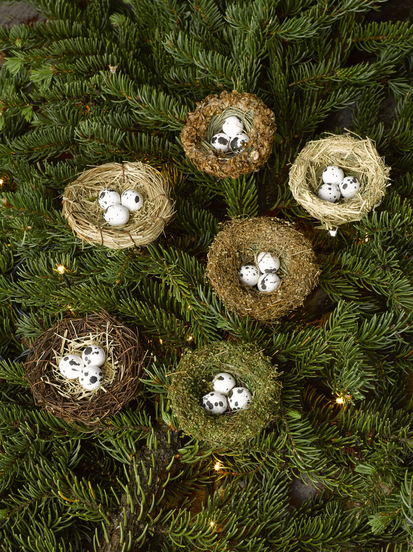 Christmas ornament sets for tree - Bird Nest Ornaments Set Of 6