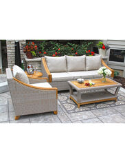 Vineyard Outdoor Wicker and Teak Deep Seating Suite