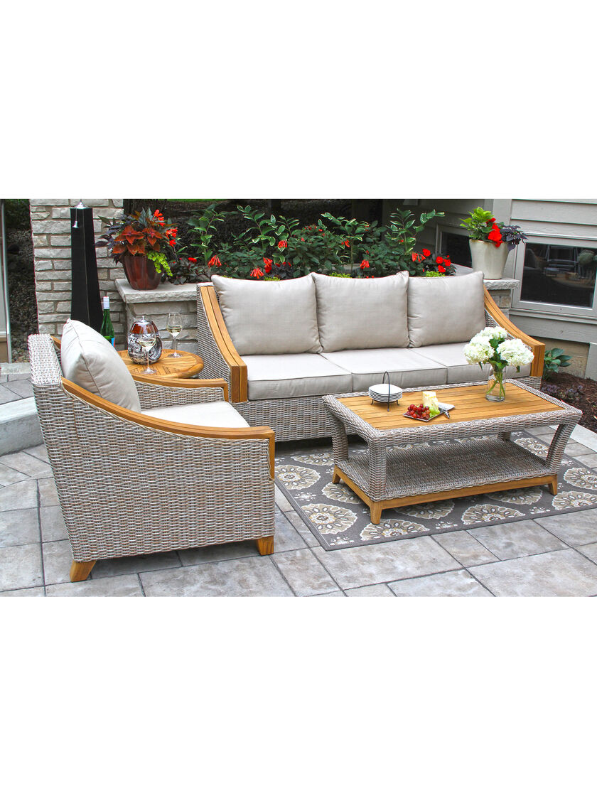 Wicker Patio Furniture Red Cushions: Resin Wicker Conversation Patio Set