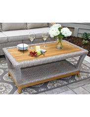Vineyard Outdoor Wicker and Teak Coffee Table