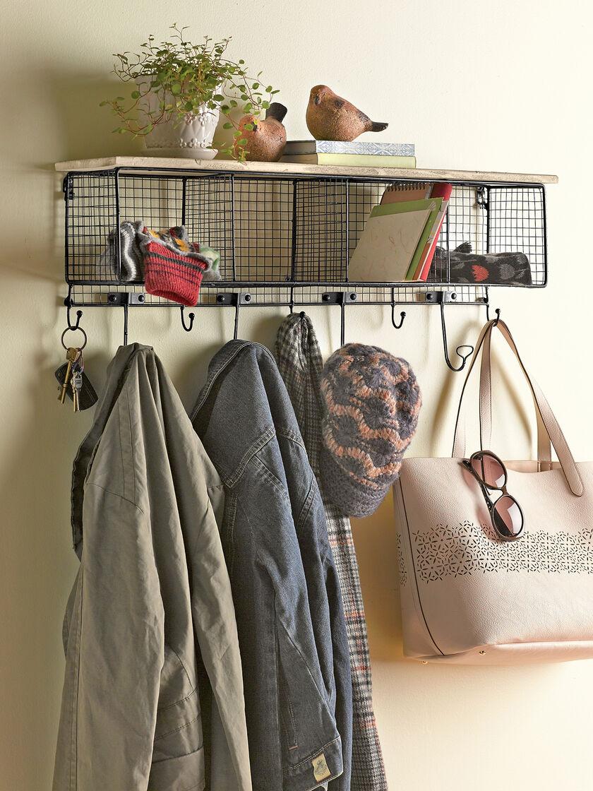 Wire Wall Rack Wall Cubbies With Coat Hooks Gardener S