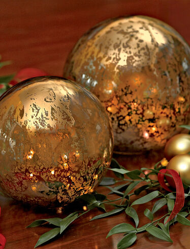 Mercury Glass Globes with Lights