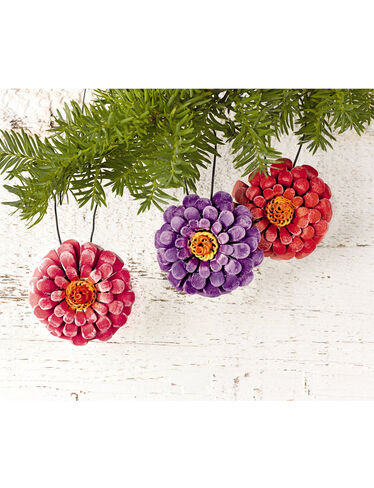 Zinnia Ornaments, Set of 6