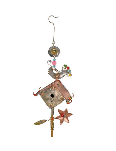 Chirpy Birdhouse Ornament