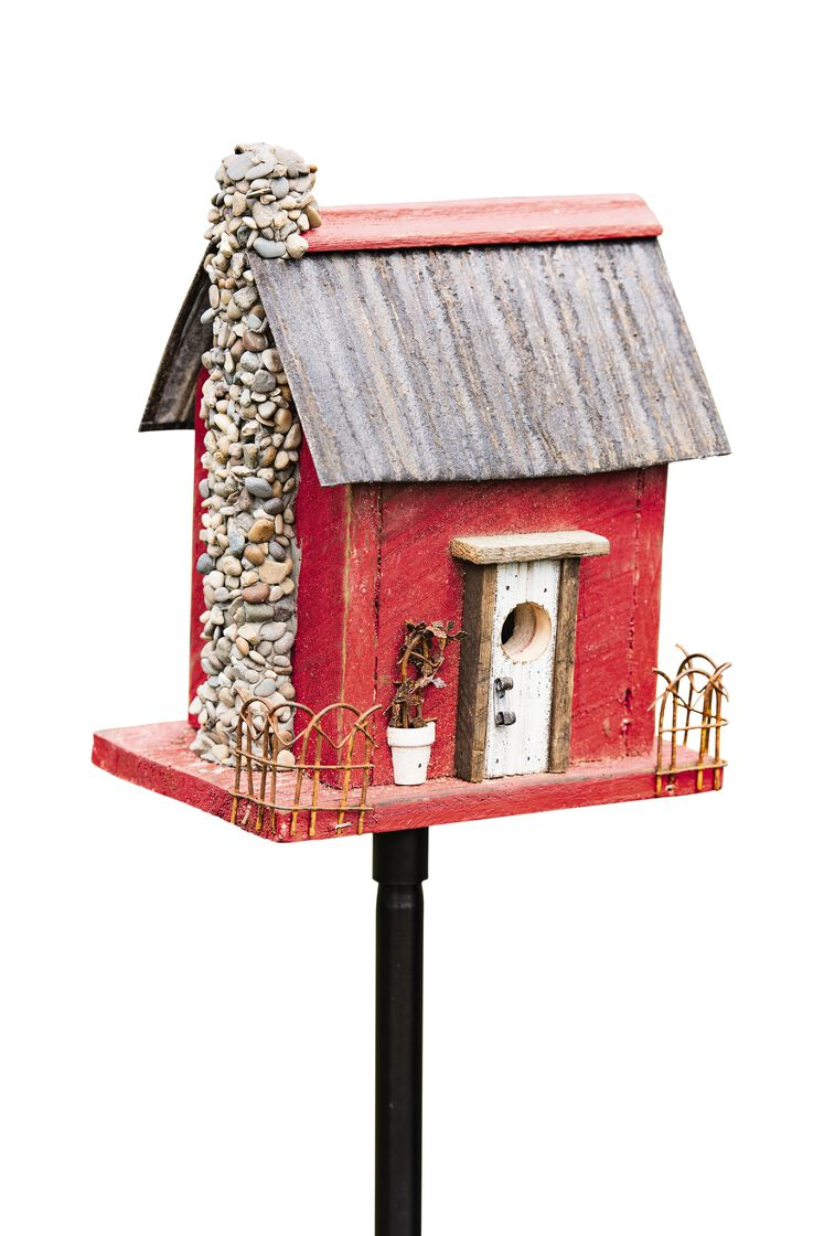 Wooden bird house red barn wood bird house for Red barn houses
