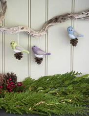 Felted Wool Bird Ornaments, Set of 3