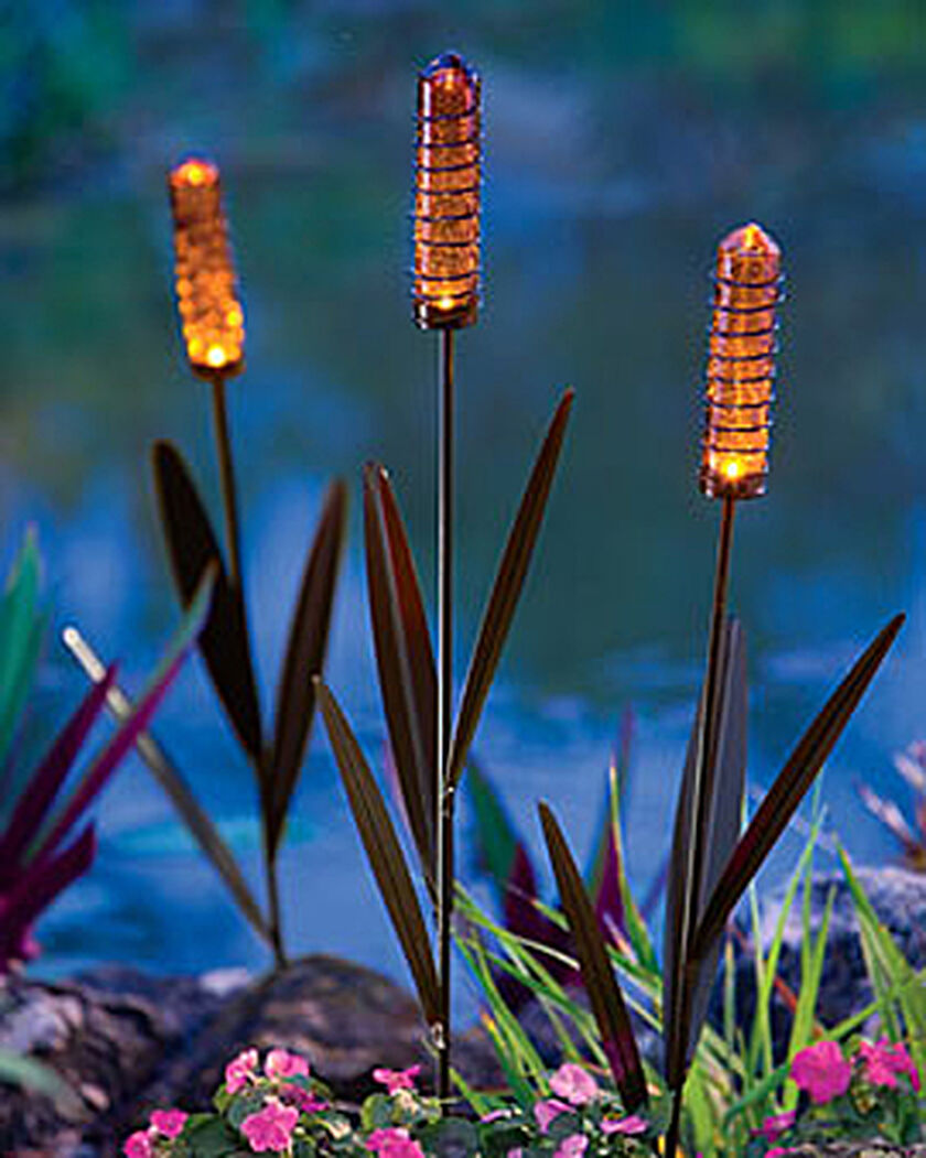 Solar cattail light buy from gardener 39 s supply - Decorative garden lights ...