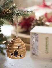 Glass Bee Skep Ornament