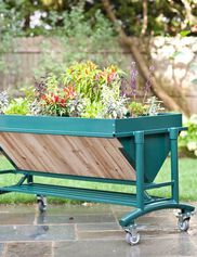 LGarden Elevated Rolling Planter