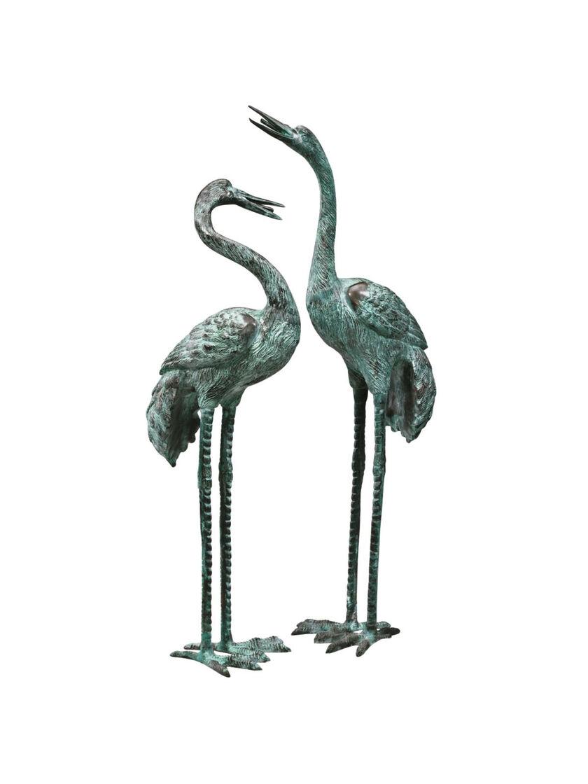 bronze crane statues large garden art gardener 39 s supply. Black Bedroom Furniture Sets. Home Design Ideas