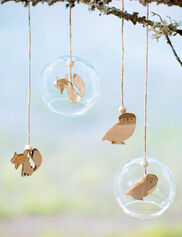 Fox & Owl Glass Ornaments, Set of 2