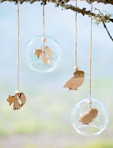 Fox & Owl Glass Ornaments, Set of 2